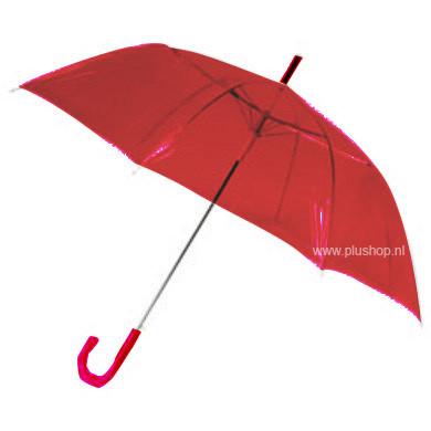 Transparante paraplu - Rood
